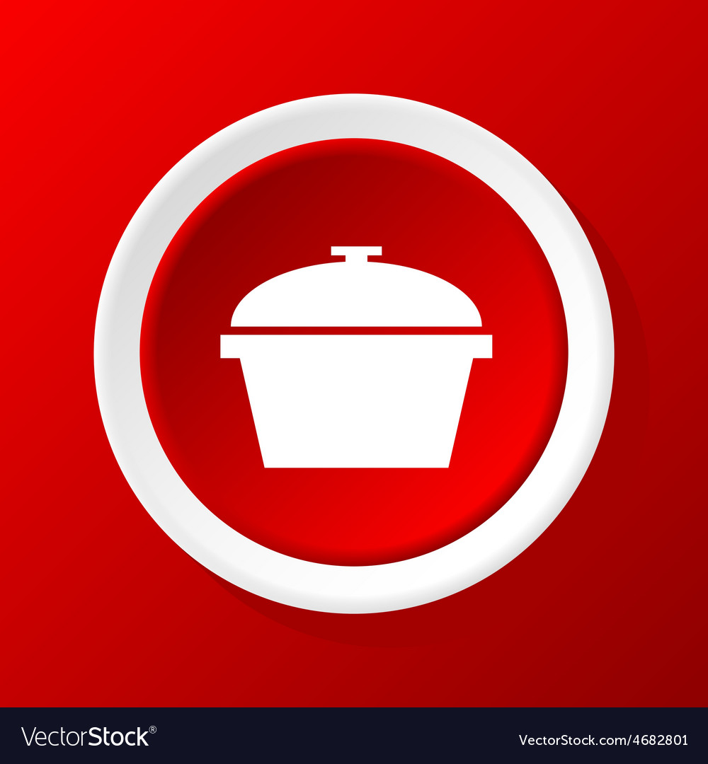 Pot icon on red vector | Price: 1 Credit (USD $1)