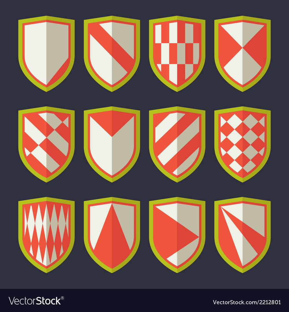 Set of shields red and green vector | Price: 1 Credit (USD $1)