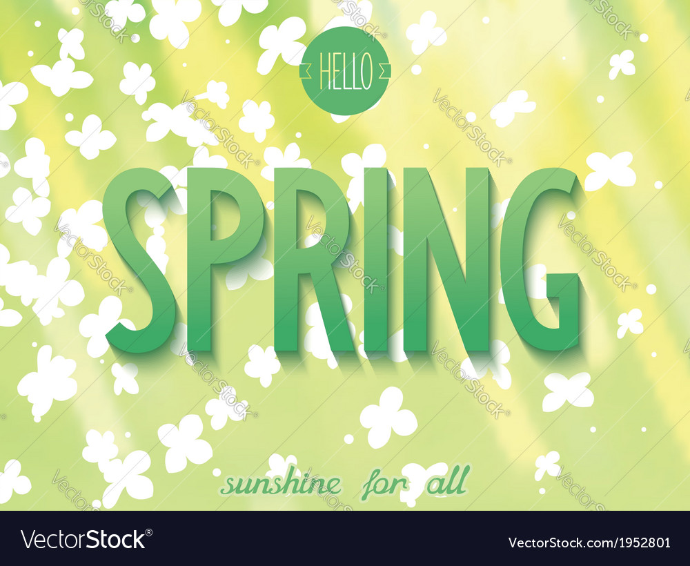 Spring inscription on nature background vector | Price: 1 Credit (USD $1)