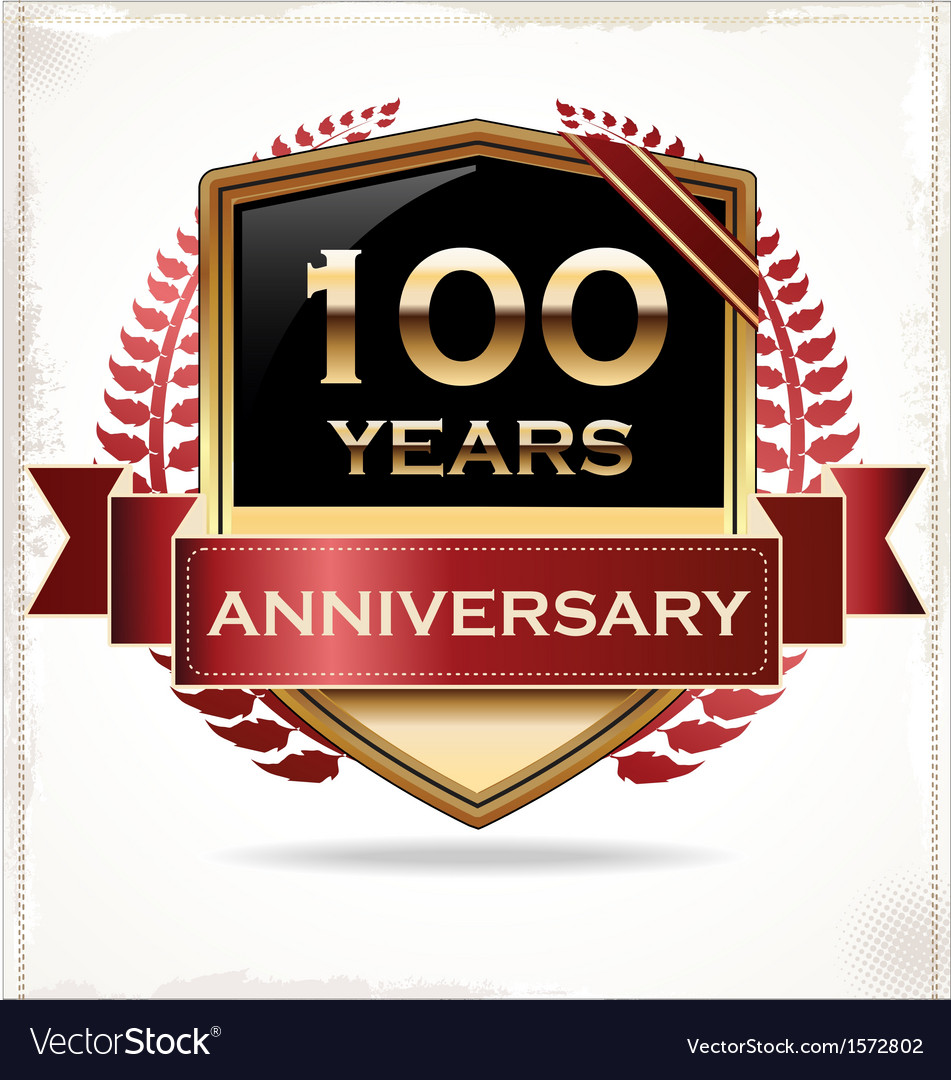 100 years anniversary golden label vector | Price: 3 Credit (USD $3)