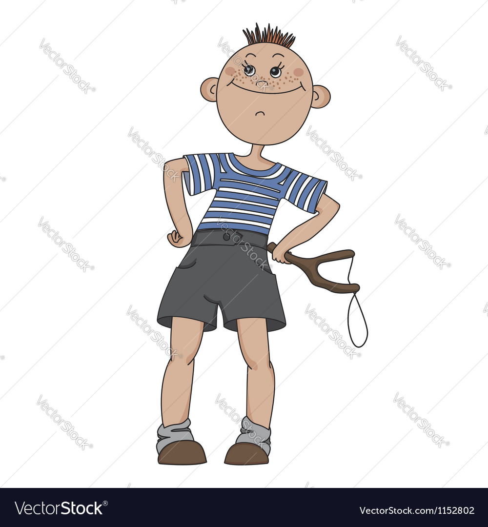 Boy with a slingshot vector | Price: 1 Credit (USD $1)