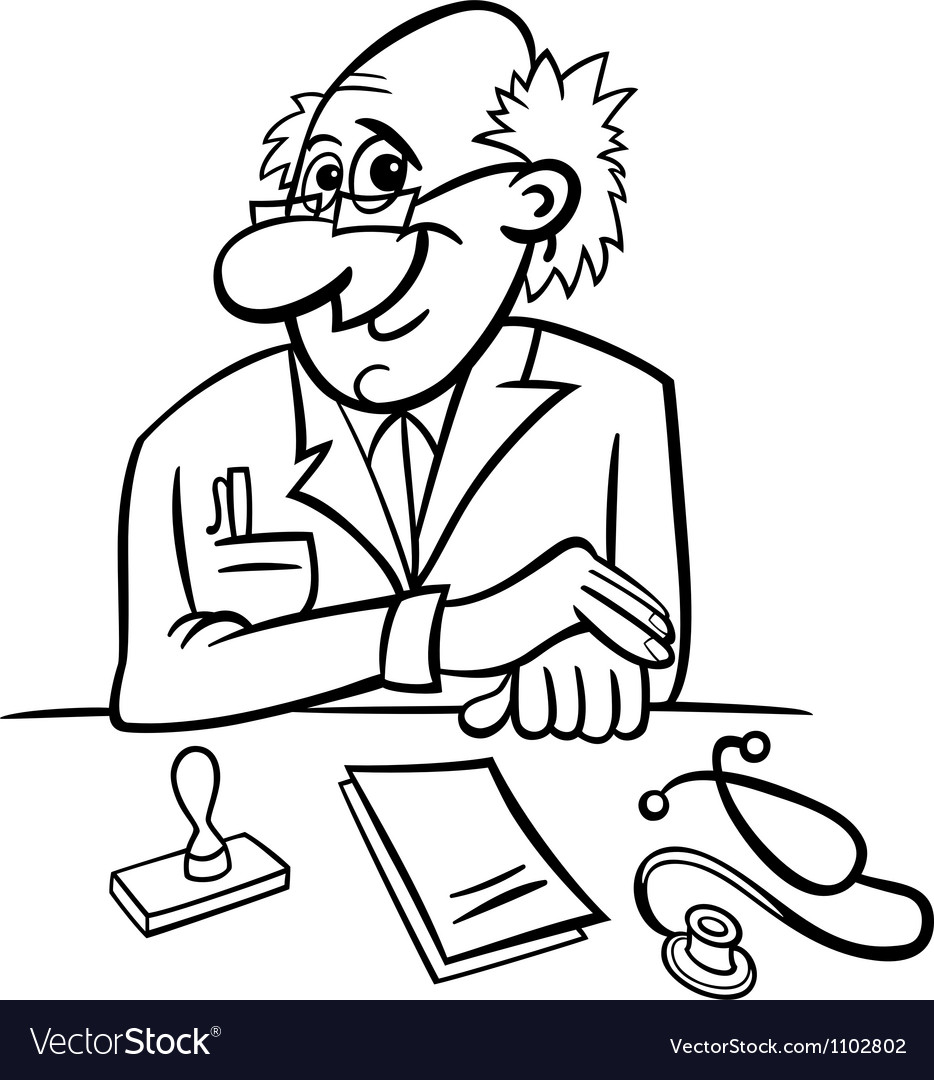 Doctor in clinic black and white cartoon vector | Price: 1 Credit (USD $1)