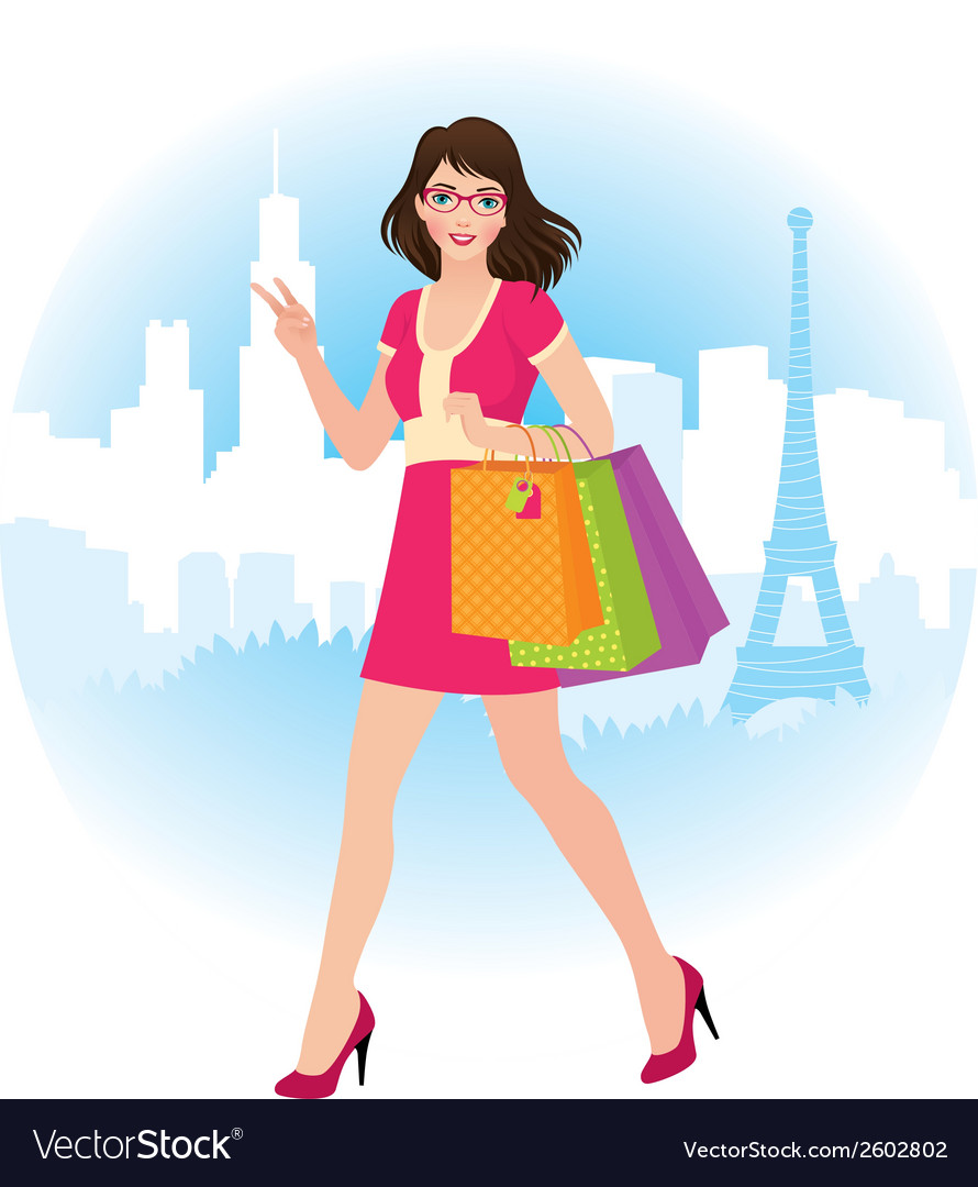 Girl holding shopping bags vector | Price: 1 Credit (USD $1)