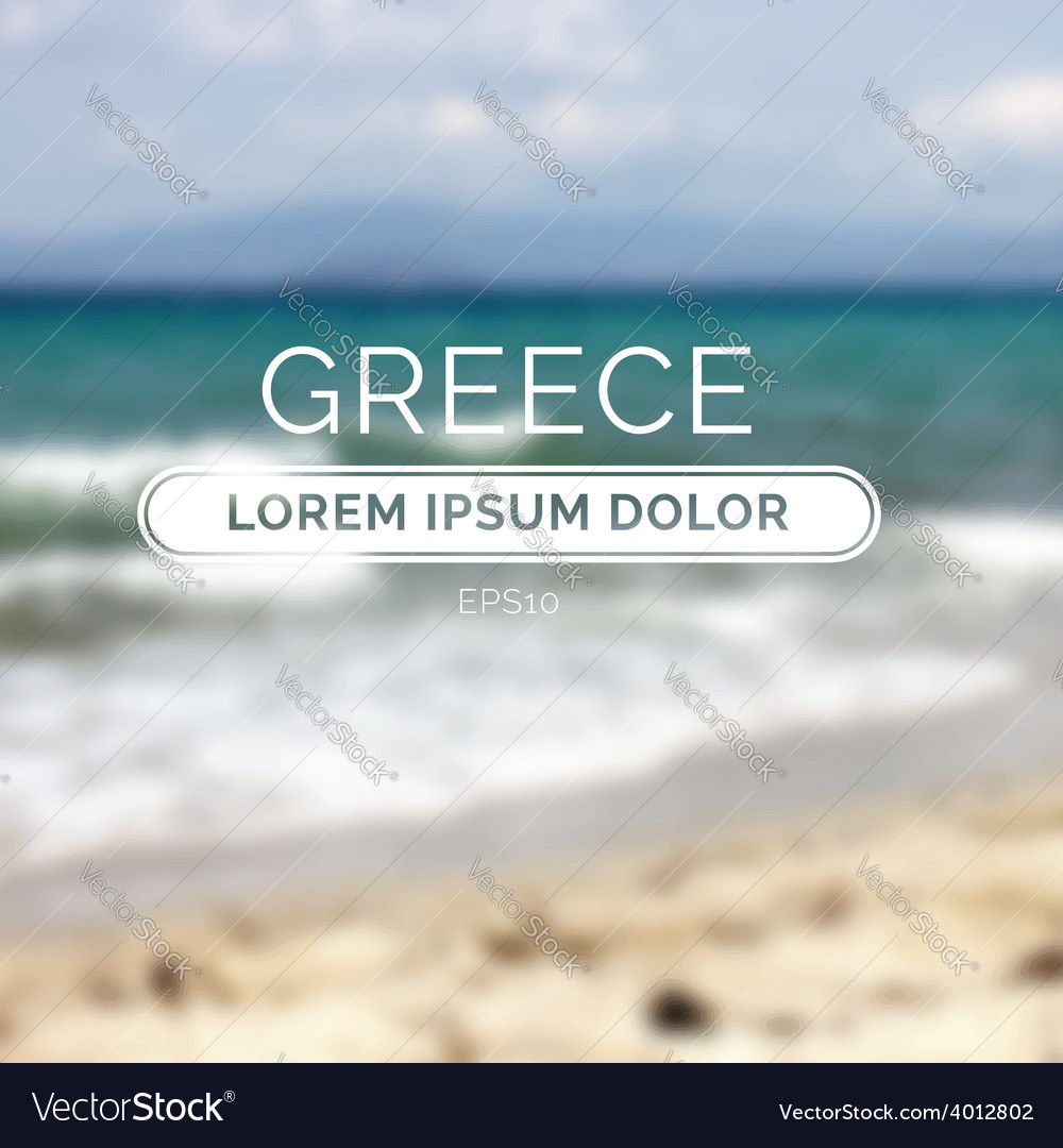 Greece sea old retro defocused summer beach vector | Price: 1 Credit (USD $1)