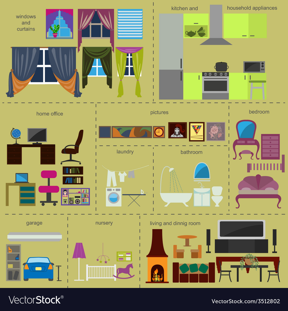 House remodeling infographic set interior elements vector   Price: 1 Credit (USD $1)