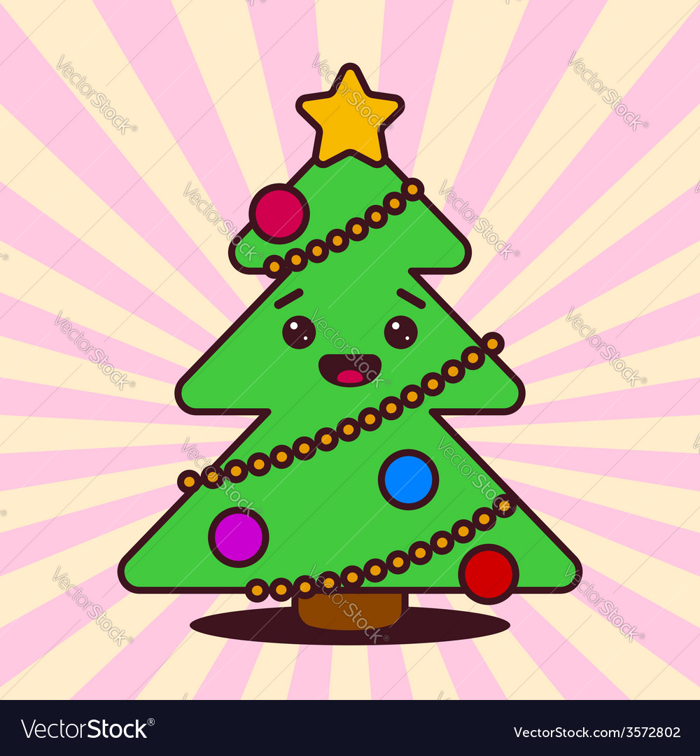 Kawaii christmas tree with smiling face vector | Price: 1 Credit (USD $1)