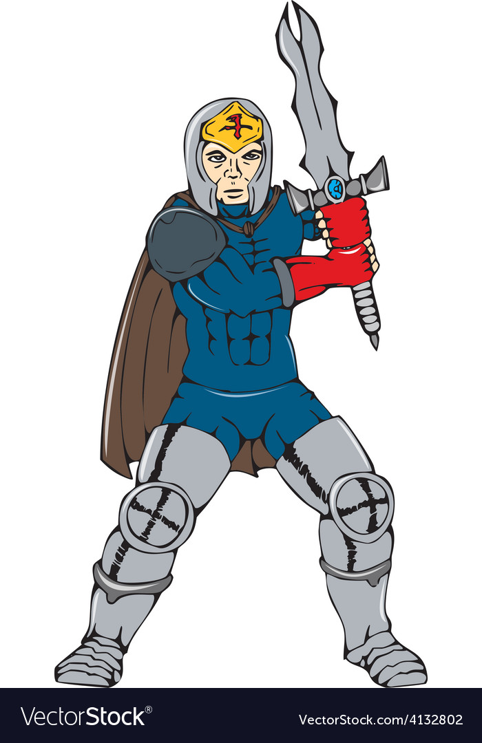 Knight wielding sword front cartoon vector | Price: 1 Credit (USD $1)