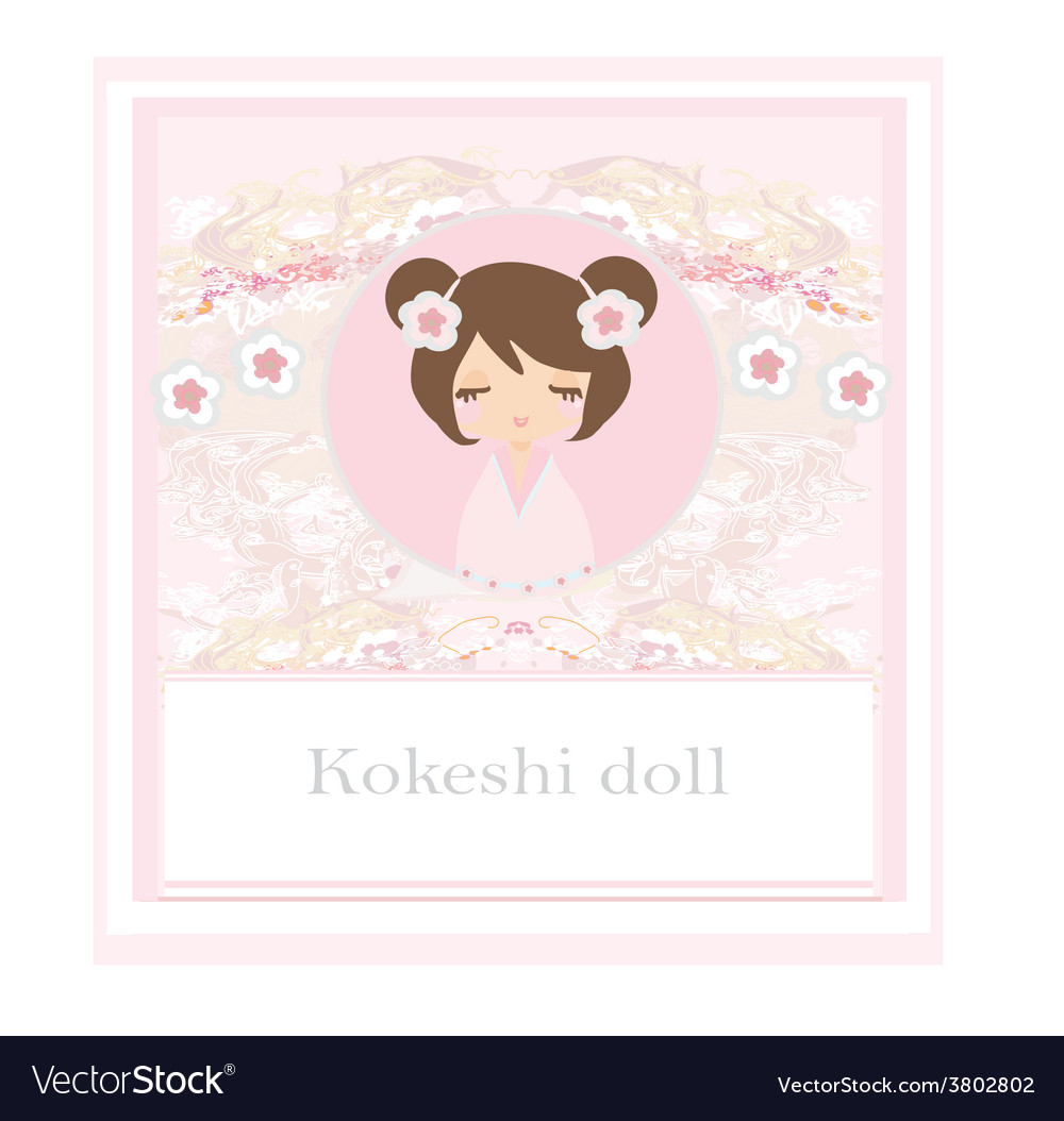 Kokeshi doll on the pink background with floral vector | Price: 1 Credit (USD $1)