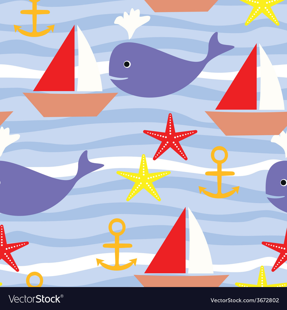 Seamless pattern with sea life boat sea star whale vector | Price: 1 Credit (USD $1)