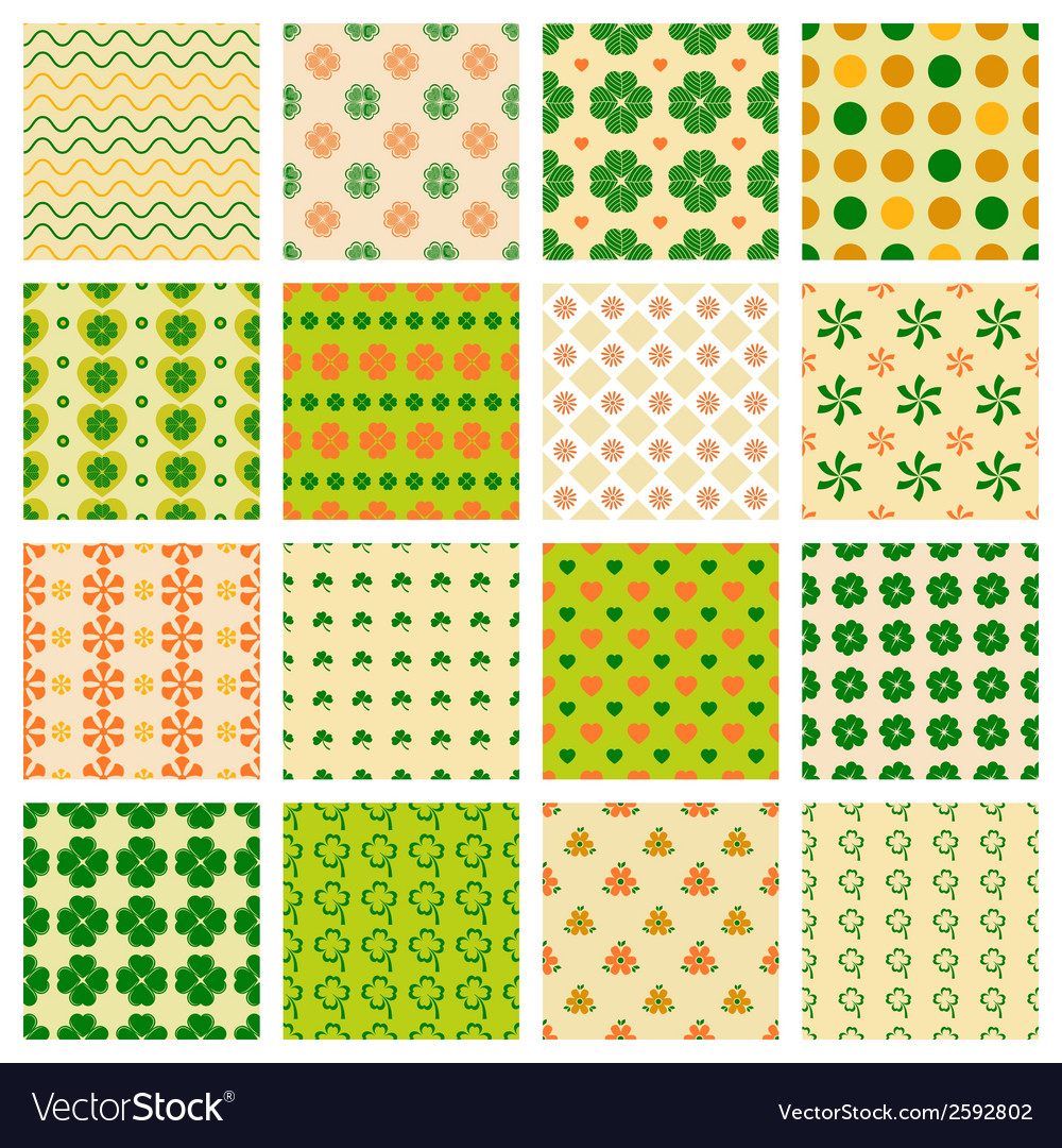 Seamless patterns with clover vector | Price: 1 Credit (USD $1)