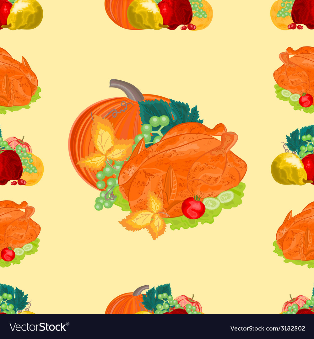 Seamless texture turkey and fruit with pumpkin vector | Price: 1 Credit (USD $1)