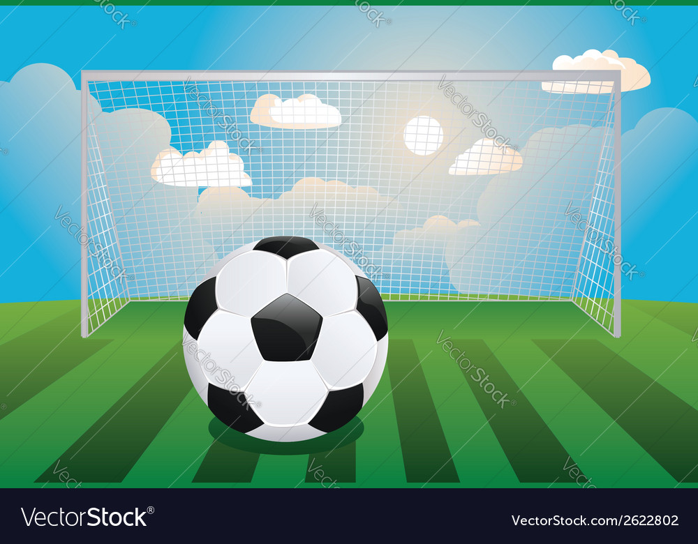 Soccer goal with ball vector | Price: 1 Credit (USD $1)