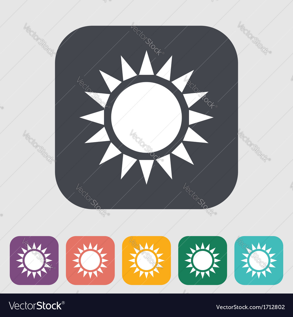 Sun single flat icon vector | Price: 1 Credit (USD $1)