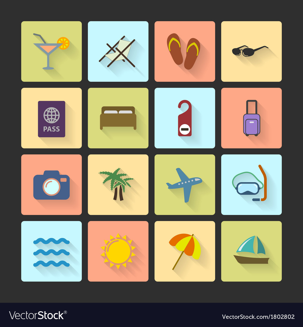 Vacation ui layout icons squared shadows vector | Price: 1 Credit (USD $1)