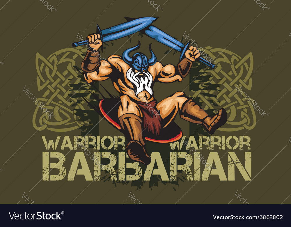 Viking norseman mascot cartoon with two swords vector | Price: 3 Credit (USD $3)