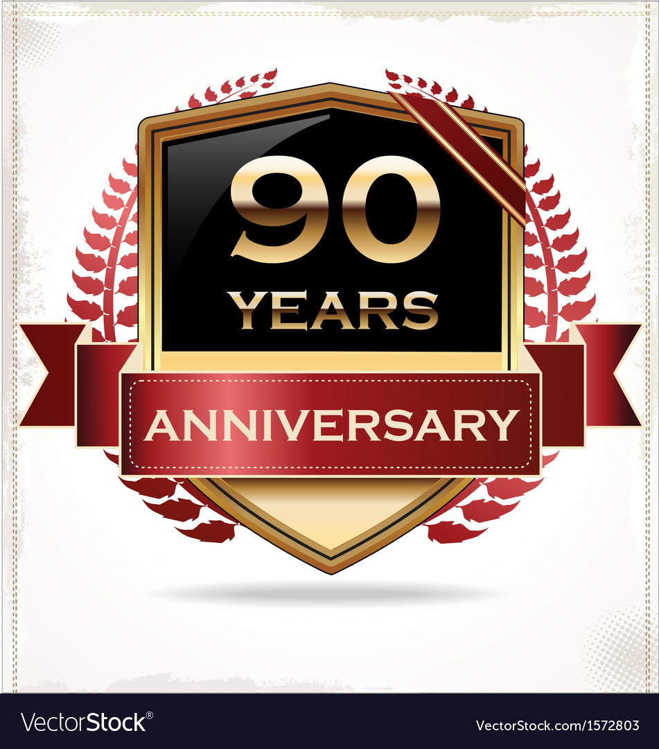 90 years anniversary golden label vector | Price: 3 Credit (USD $3)