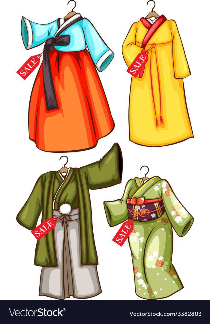 Asian outfits vector | Price: 3 Credit (USD $3)