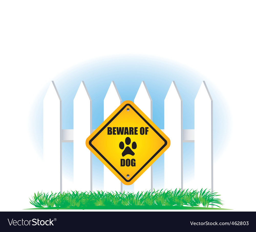 Beware of dog yellow sign vector | Price: 1 Credit (USD $1)