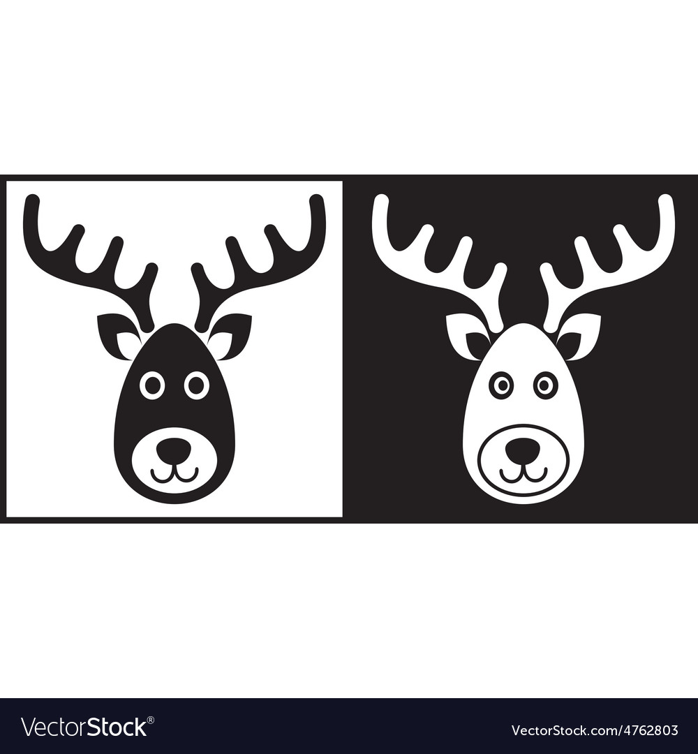 Black and white reindeer face vector | Price: 1 Credit (USD $1)