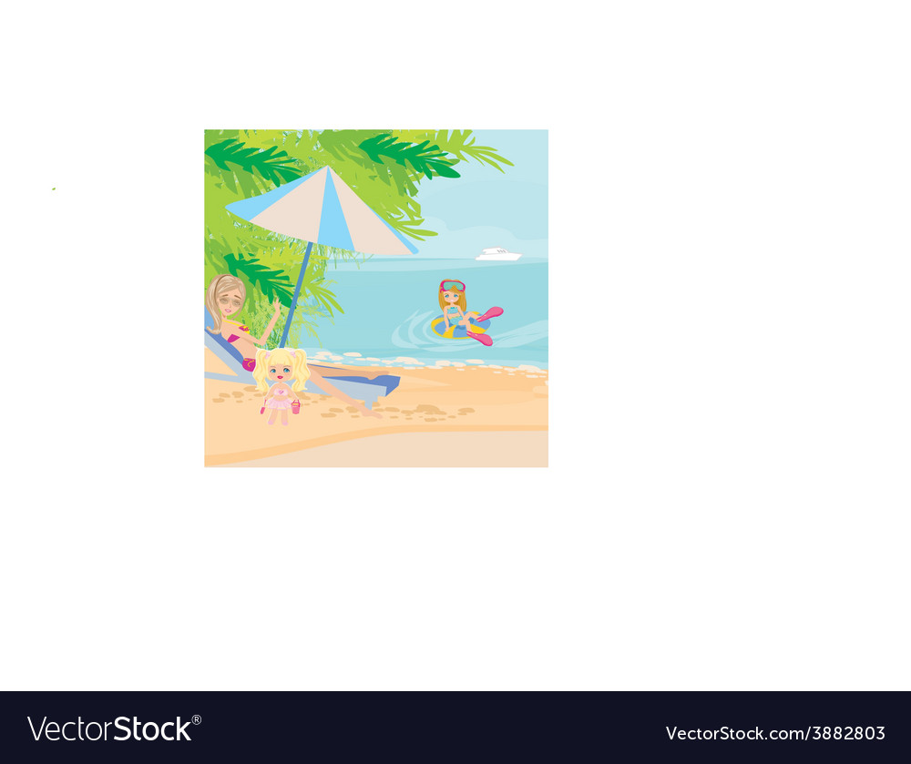 Family holidays by the sea vector | Price: 1 Credit (USD $1)