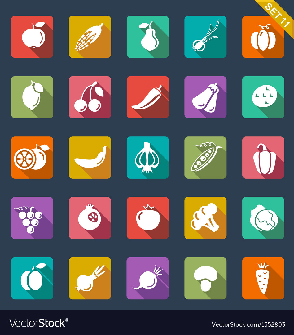 Fruit and vegetables icons - flat design vector | Price: 1 Credit (USD $1)
