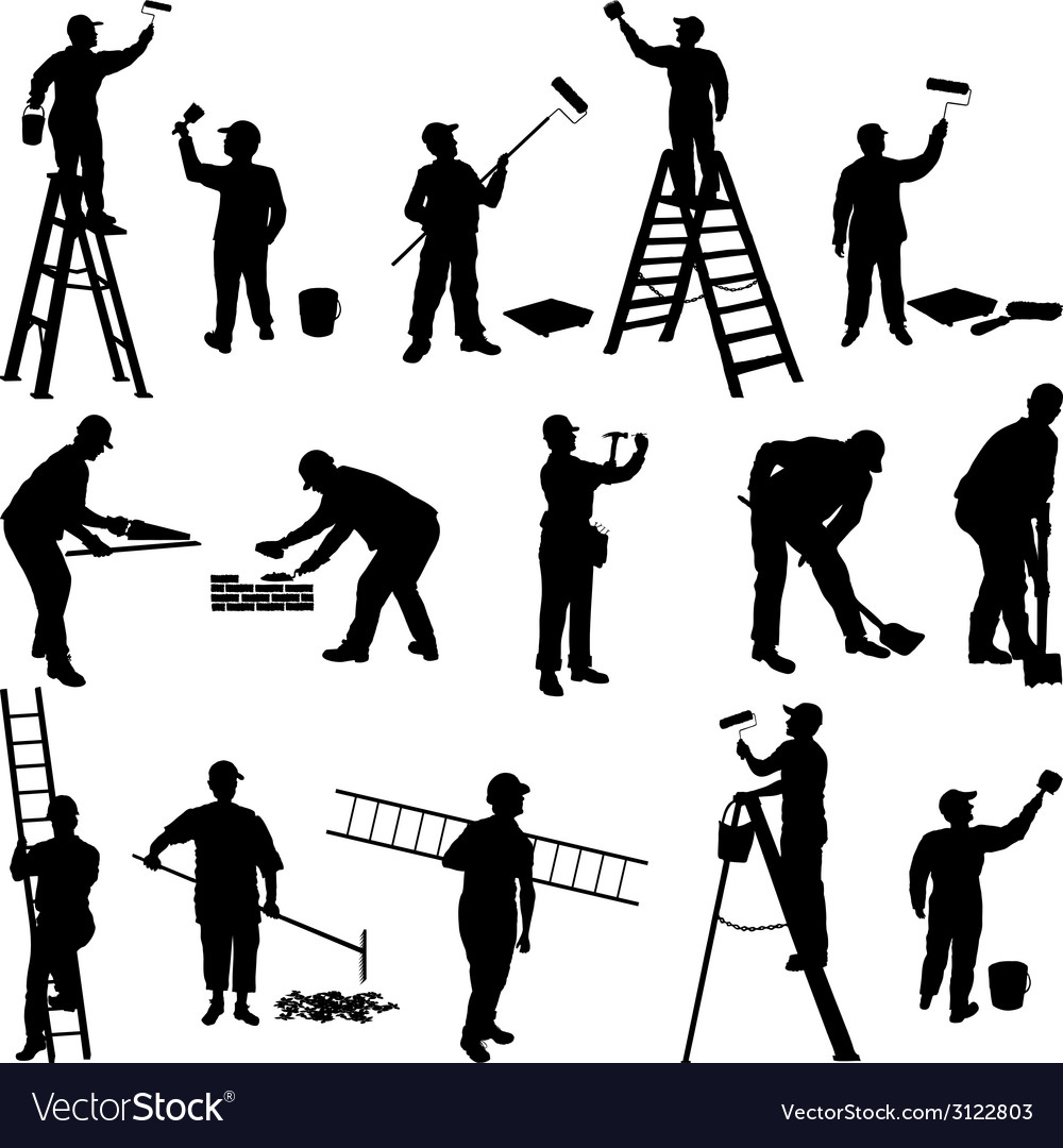 Group of workers silhouettes vector | Price: 1 Credit (USD $1)