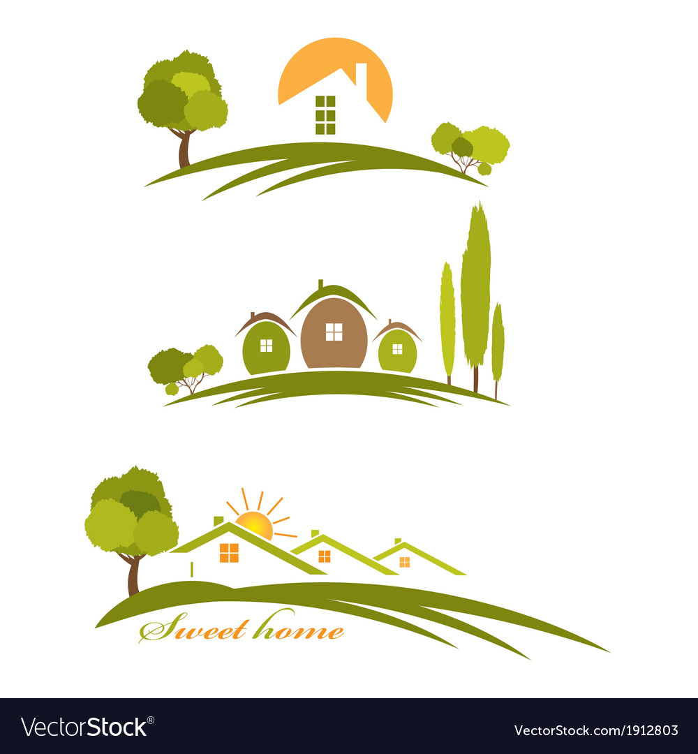 Landscape with houses and trees vector | Price: 1 Credit (USD $1)