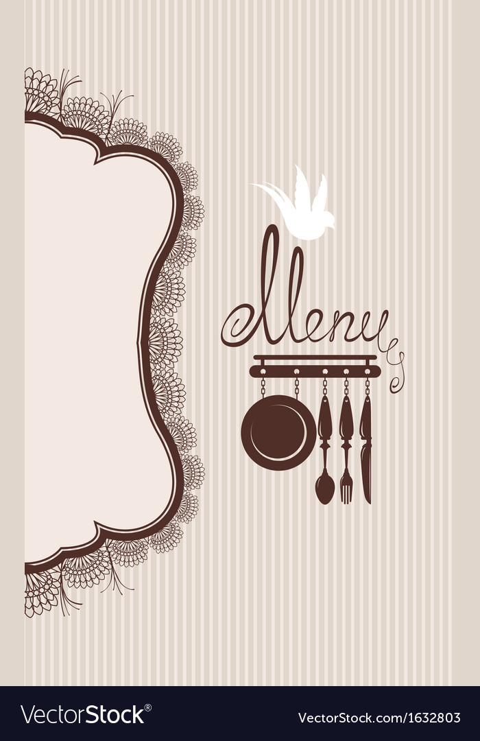 Restaurant menu design with lace table napkin and vector | Price: 1 Credit (USD $1)