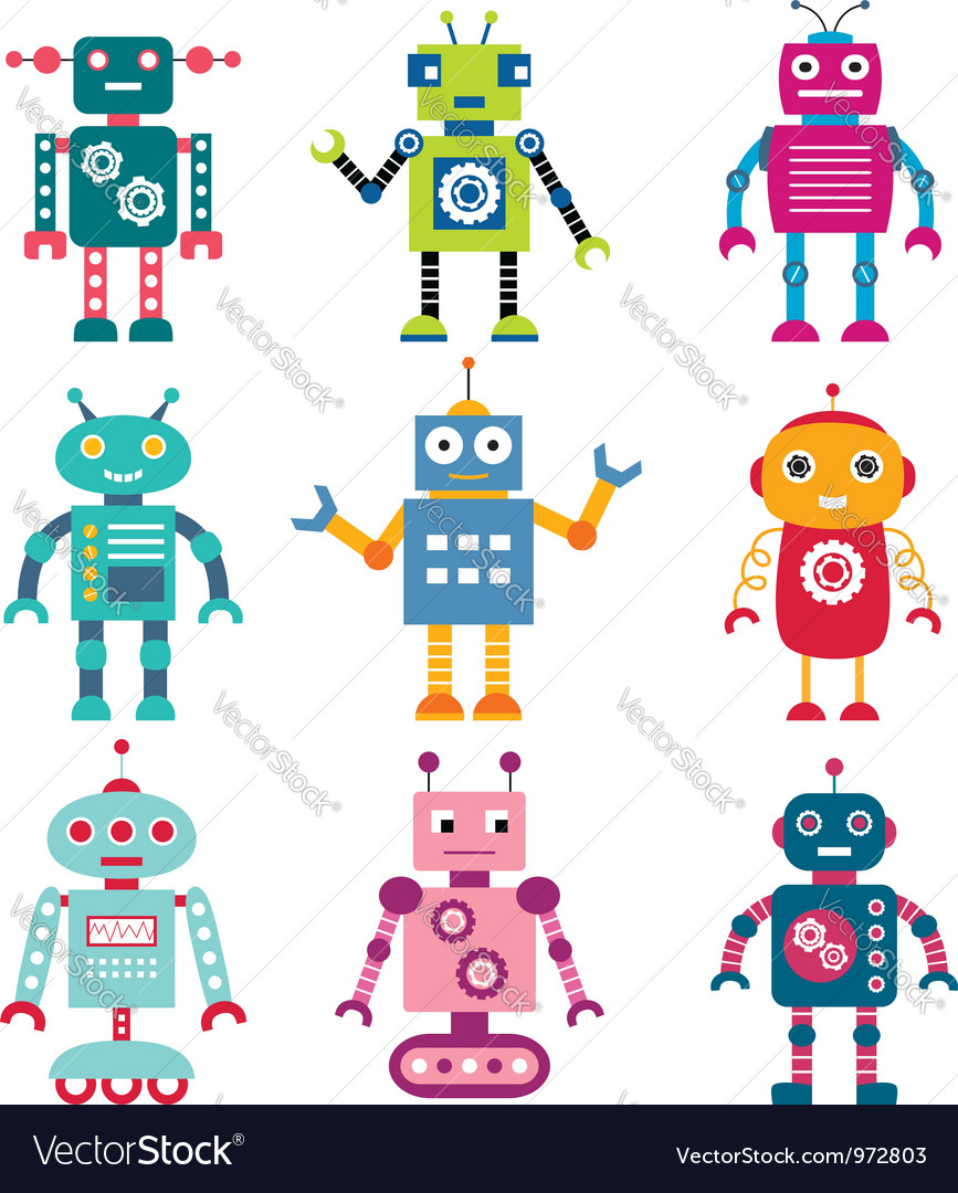 Robots set vector | Price: 1 Credit (USD $1)