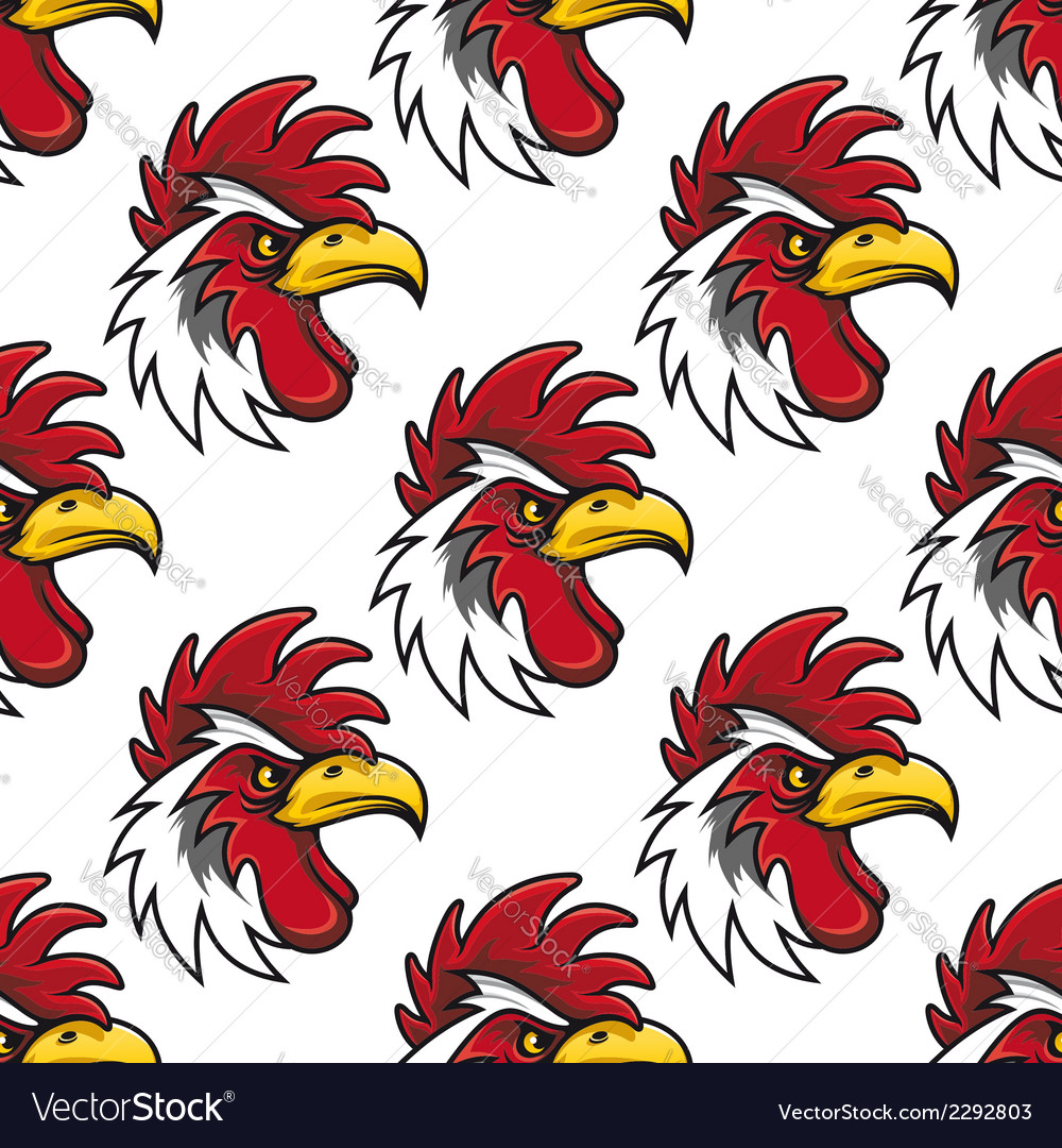 Rooster head seamless background pattern vector | Price: 1 Credit (USD $1)