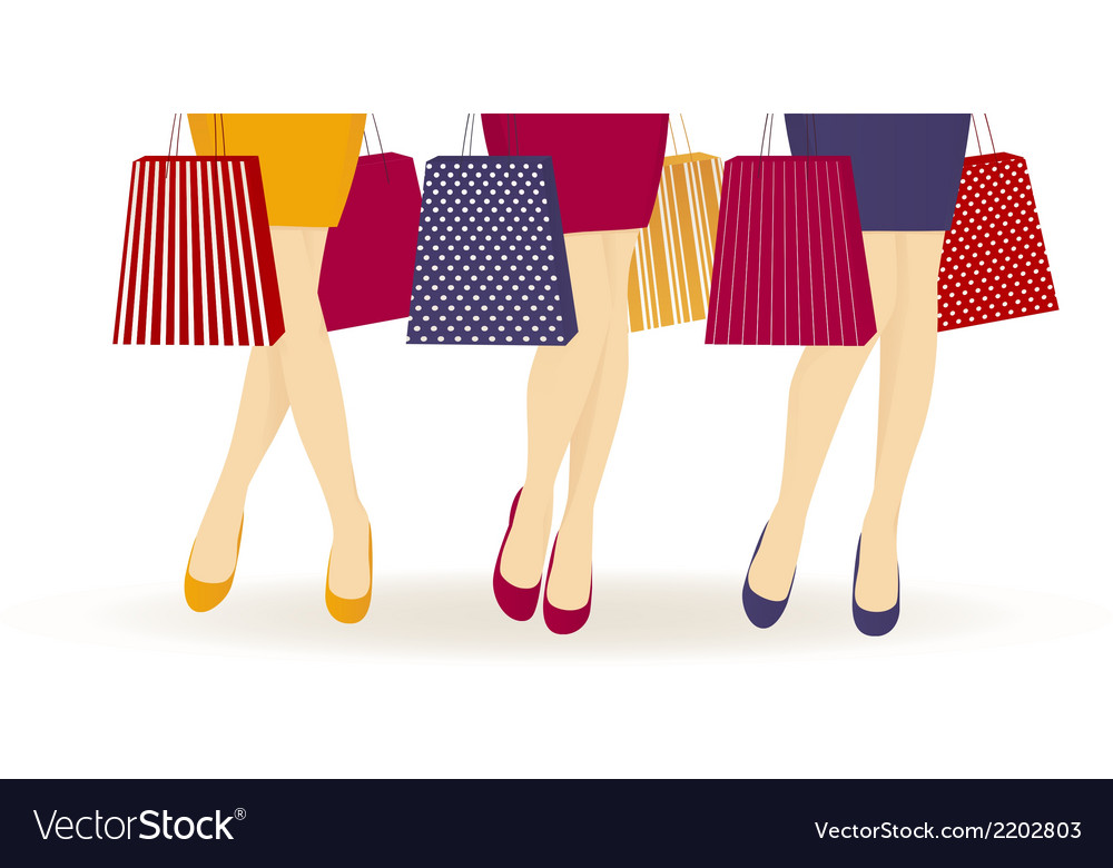 Shopping girls vector | Price: 1 Credit (USD $1)