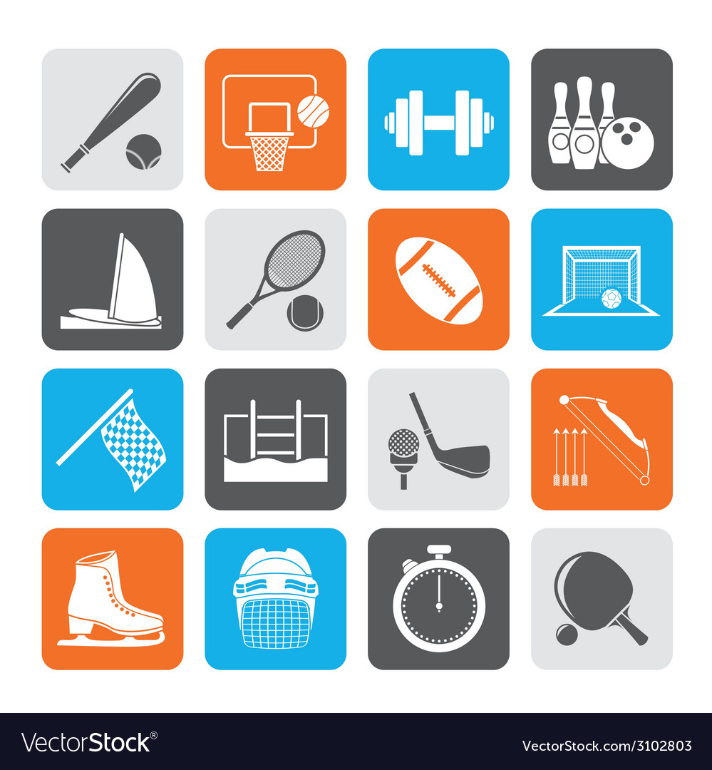 Silhouette sport objects icons vector | Price: 1 Credit (USD $1)