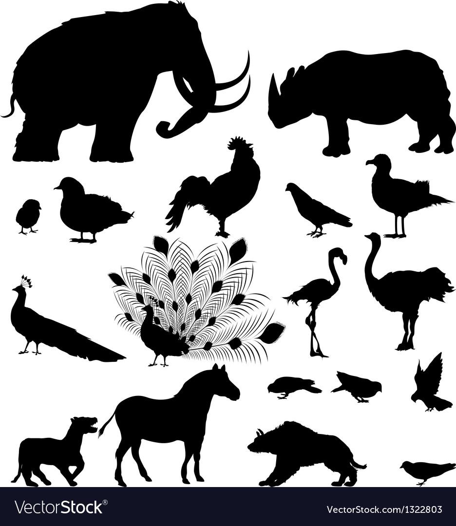 Wild animal silhouettes vector | Price: 1 Credit (USD $1)