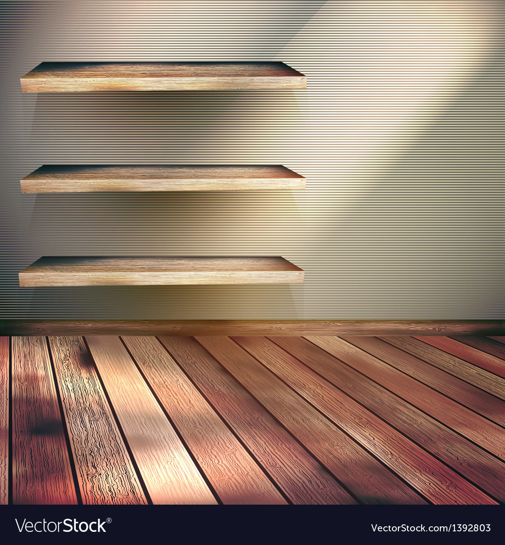 Wooden shelves background eps 10 vector | Price: 1 Credit (USD $1)