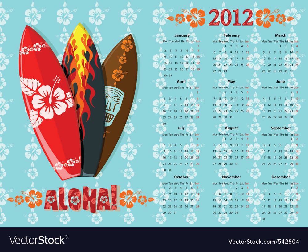 Aloha calendar 2012 vector | Price: 1 Credit (USD $1)