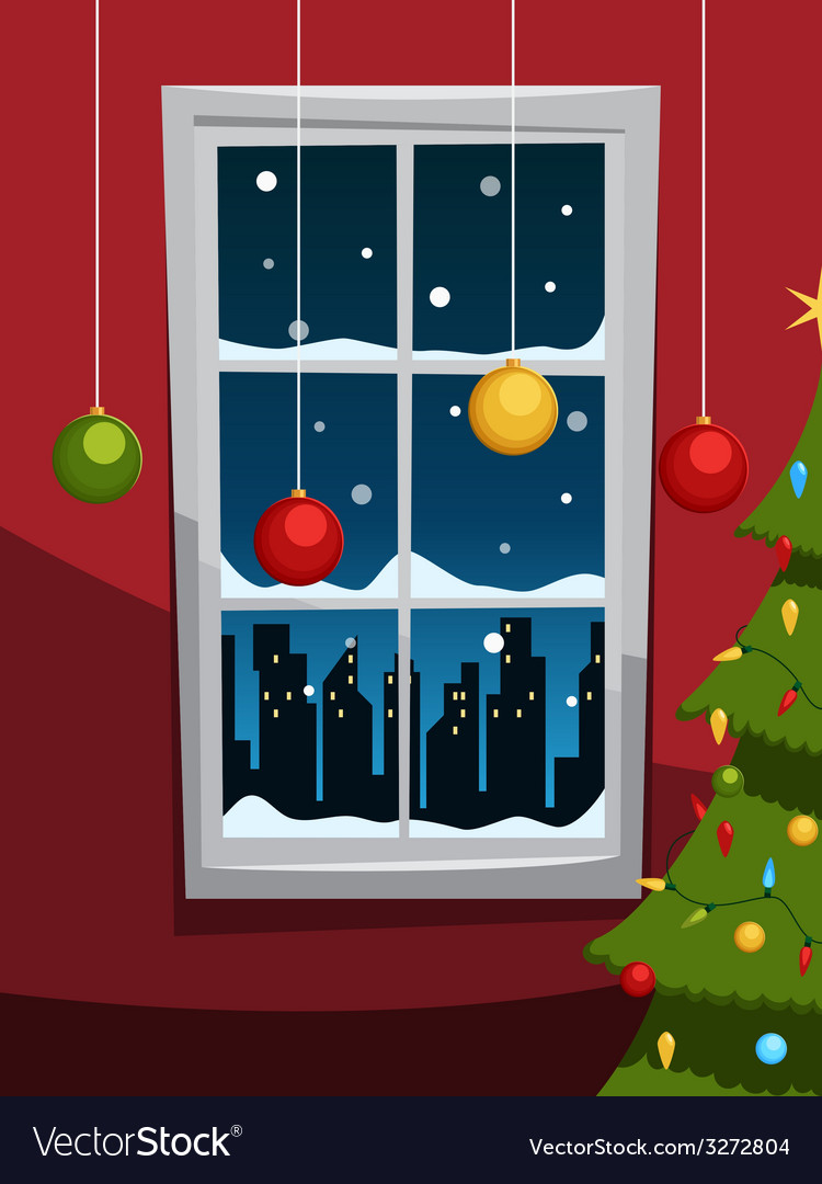 Christmas night with tree and window vector | Price: 3 Credit (USD $3)