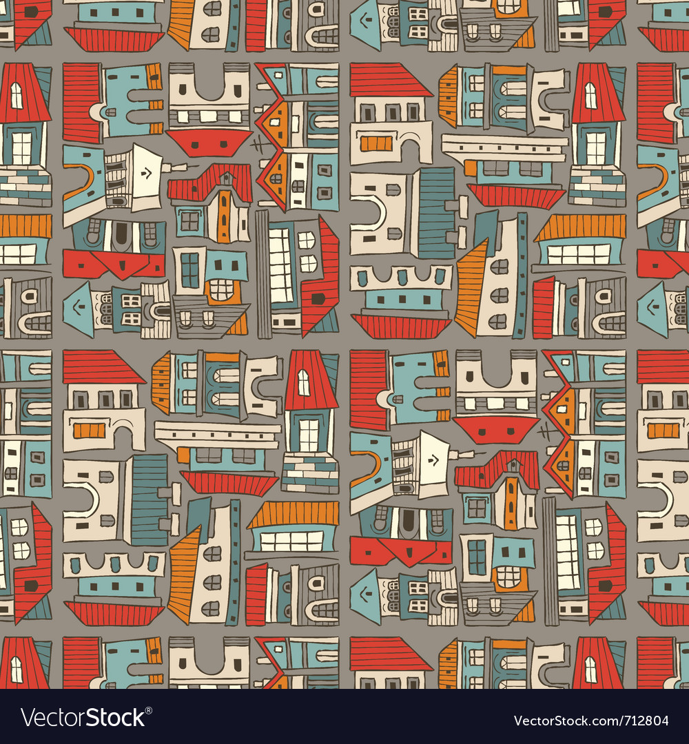 City seamless pattern vector | Price: 1 Credit (USD $1)
