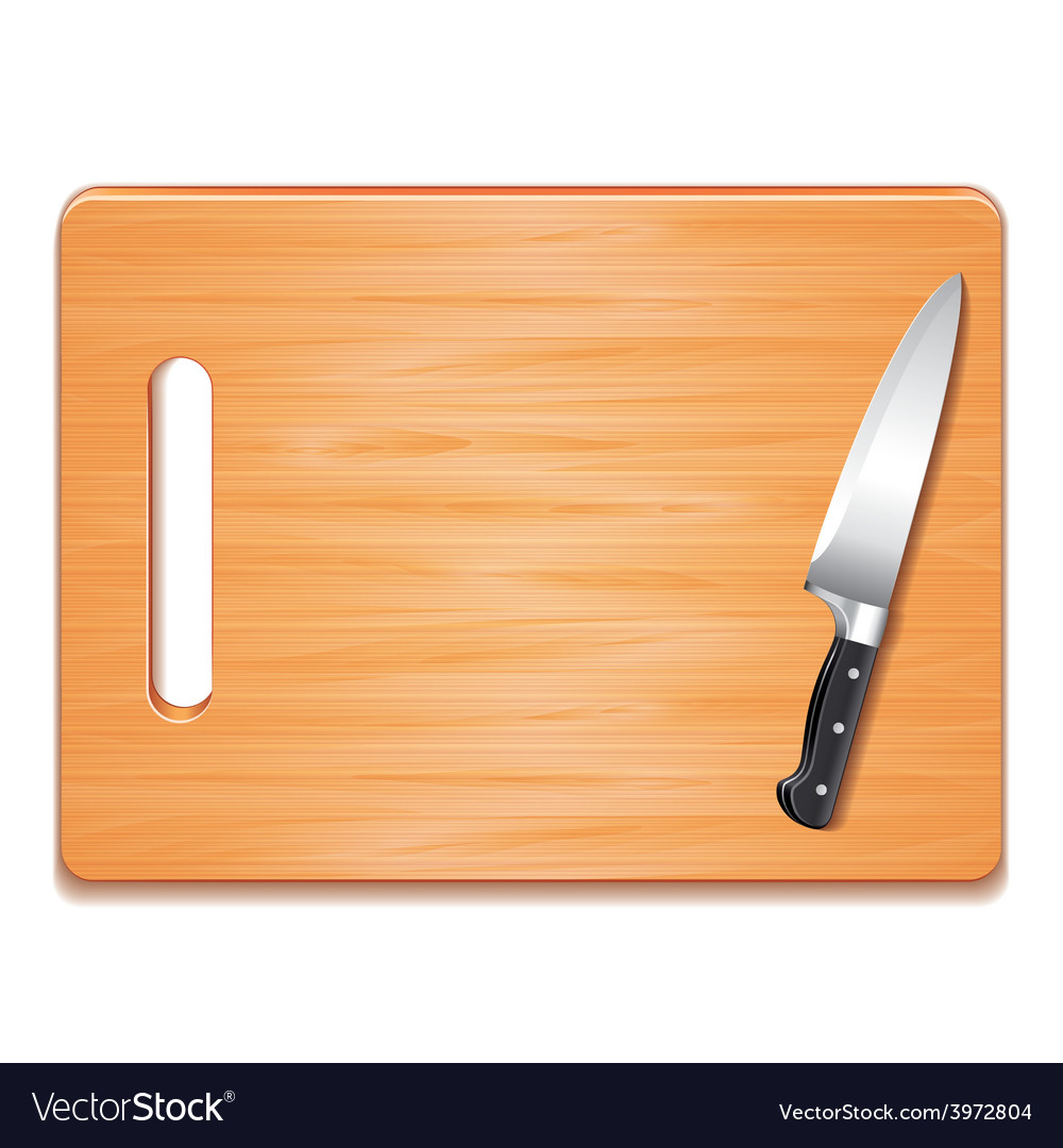 Cutting board and knife isolated vector | Price: 1 Credit (USD $1)