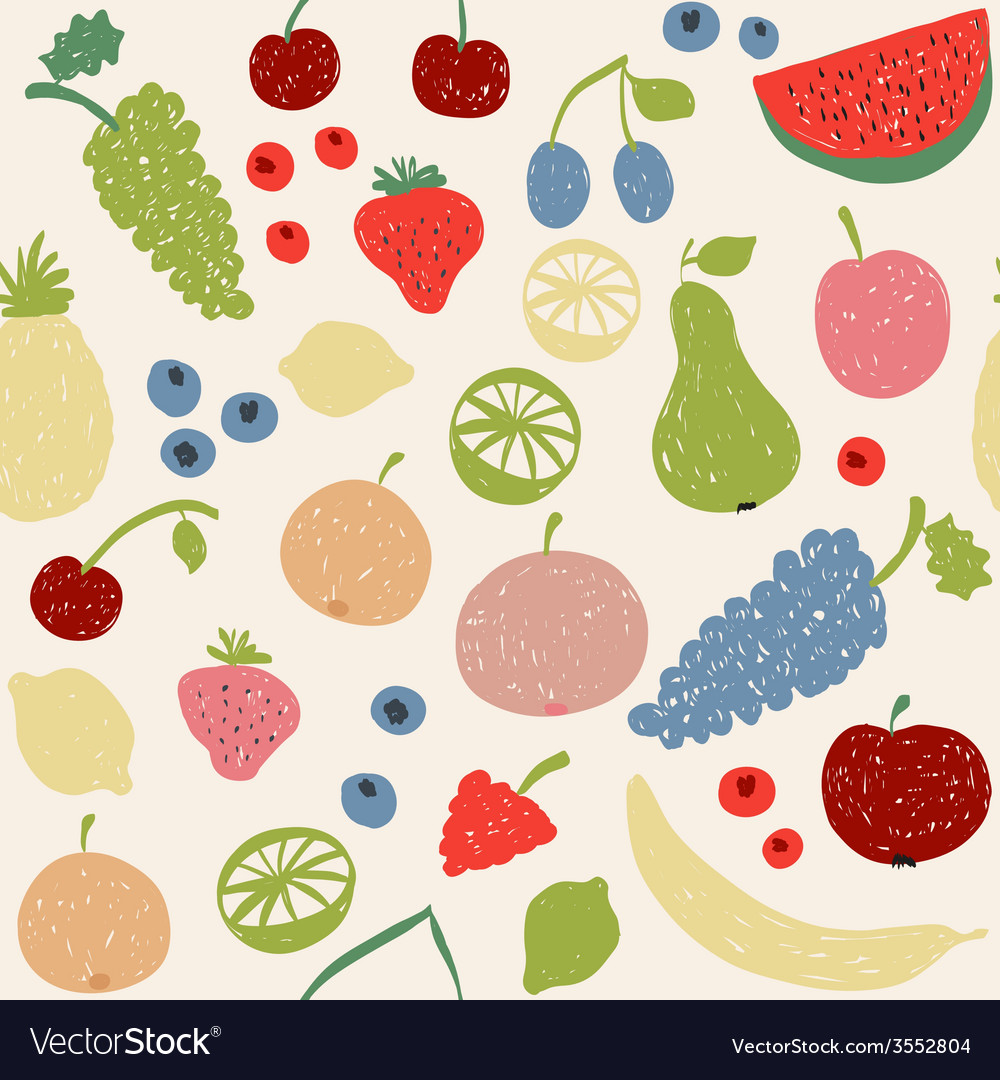Doodle fruits seamless pattern in retro colors vector | Price: 1 Credit (USD $1)
