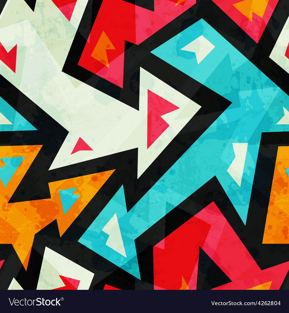 Graffiti arrows seamless pattern with grunge vector | Price: 1 Credit (USD $1)