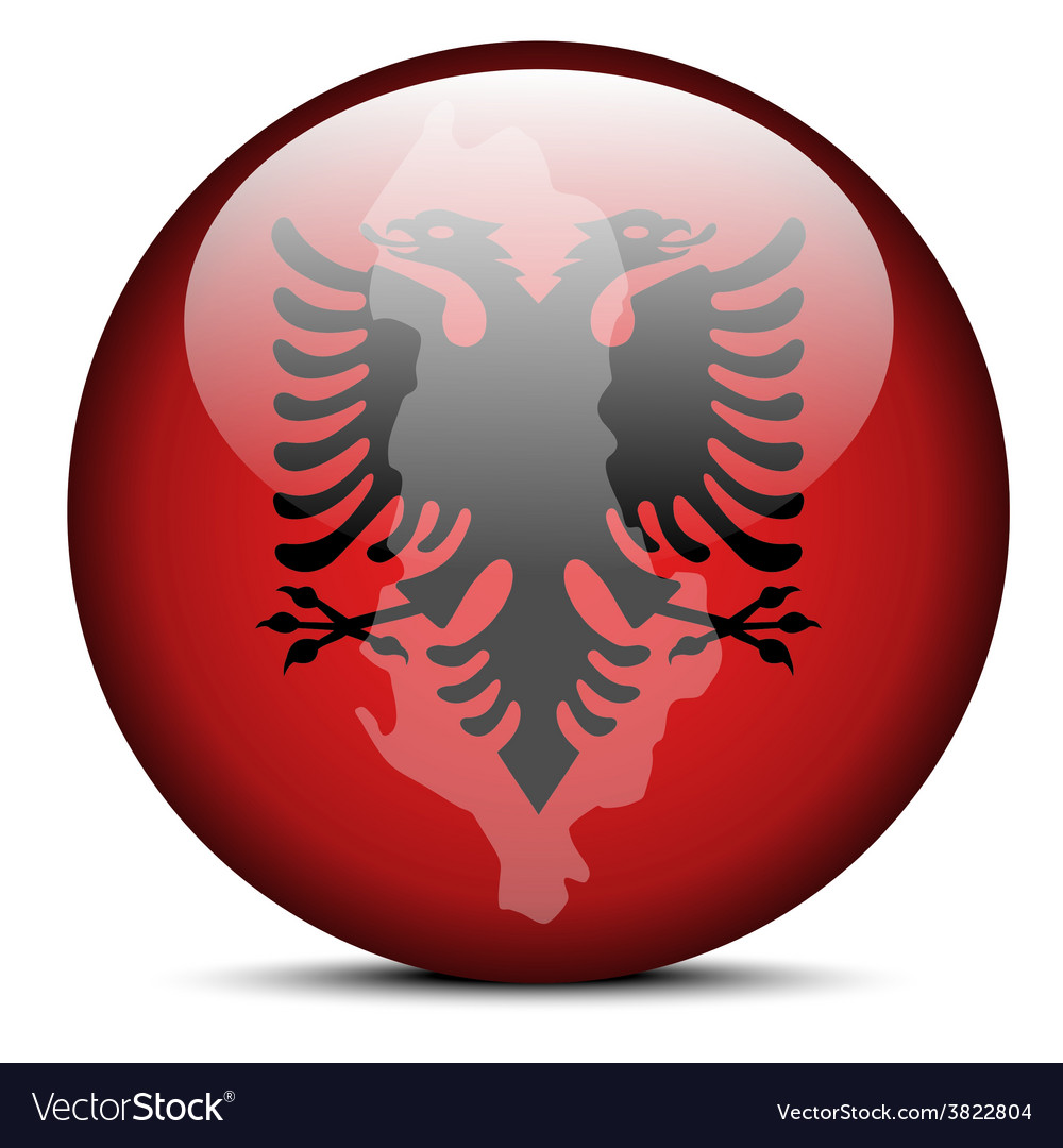 Map on flag button of republic of albania vector | Price: 1 Credit (USD $1)