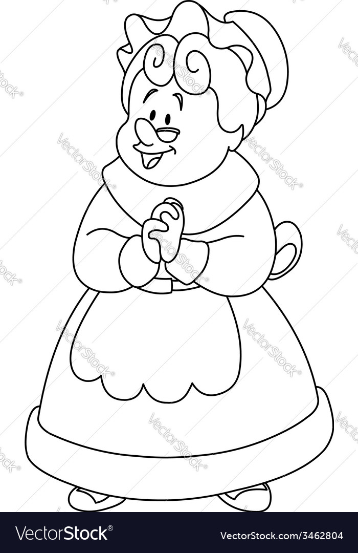 Outlined mrs claus vector | Price: 1 Credit (USD $1)