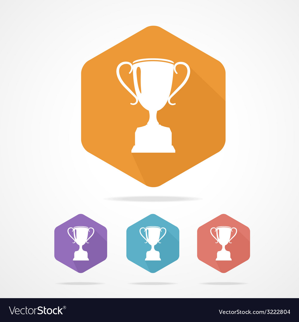 Prize trophy cup flat icon long shadow vector | Price: 1 Credit (USD $1)