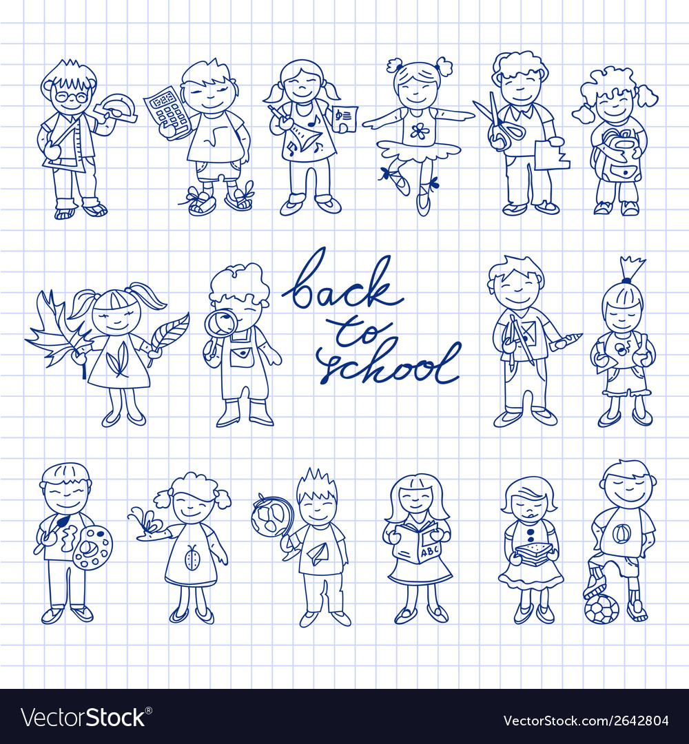 Set of carton doodle kids vector | Price: 1 Credit (USD $1)