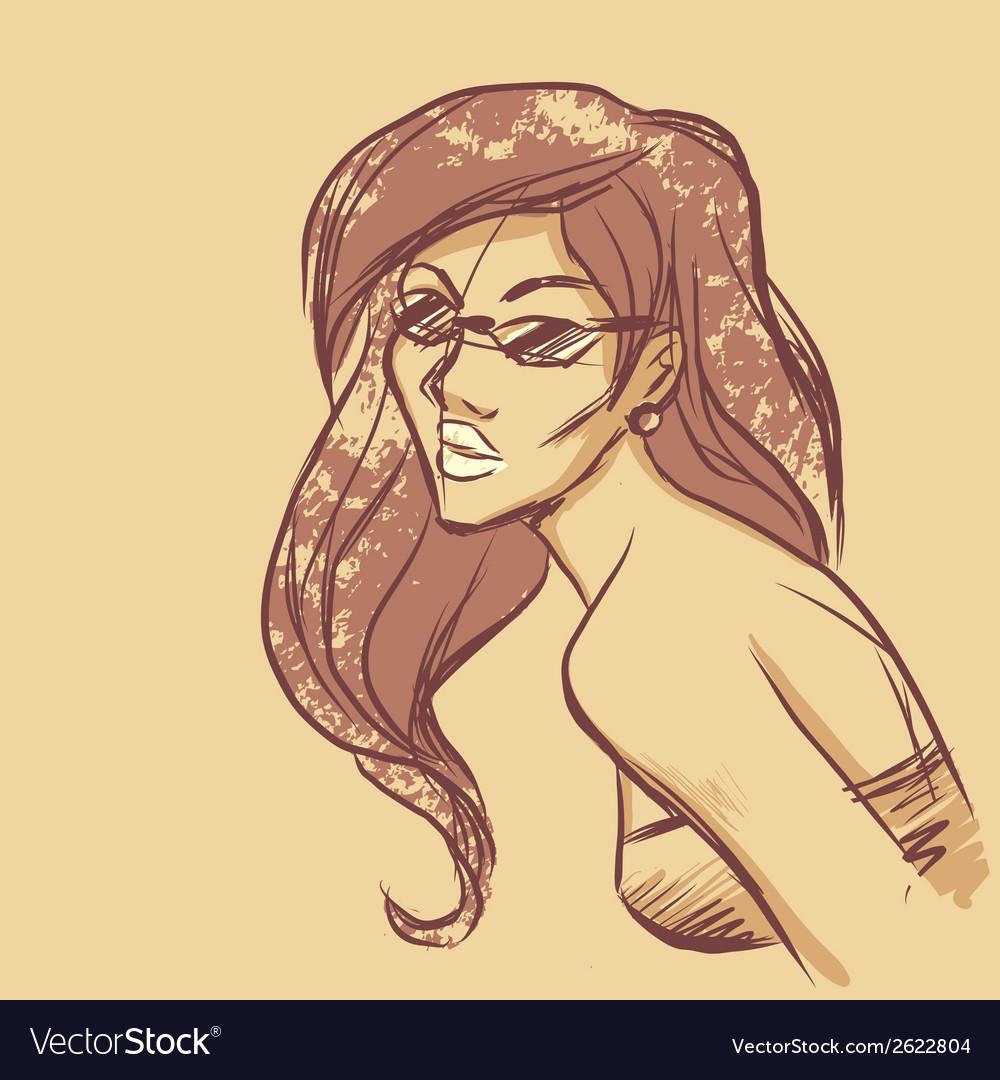 Sketch of woman portrait vector | Price: 1 Credit (USD $1)