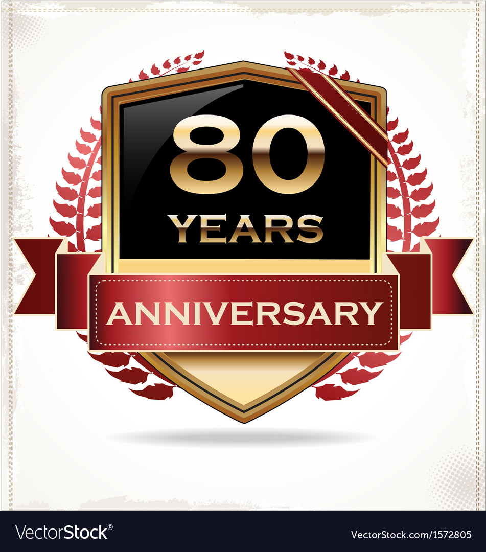 80 years anniversary golden label vector | Price: 3 Credit (USD $3)