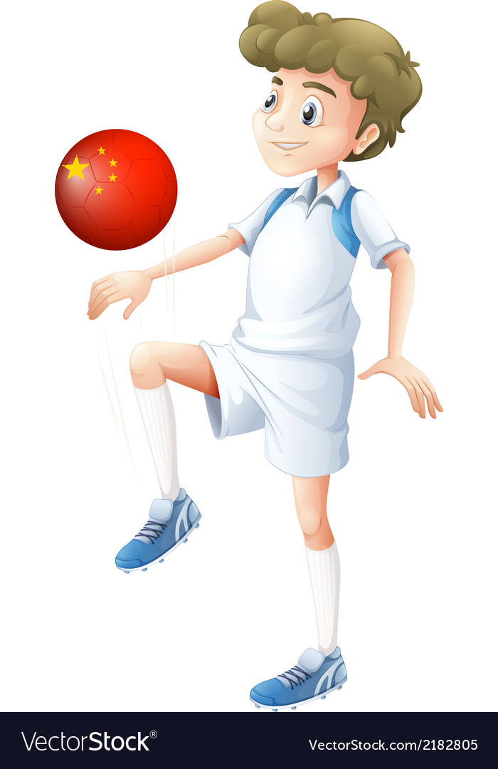 A boy using the soccer ball with the flag of china vector | Price: 1 Credit (USD $1)