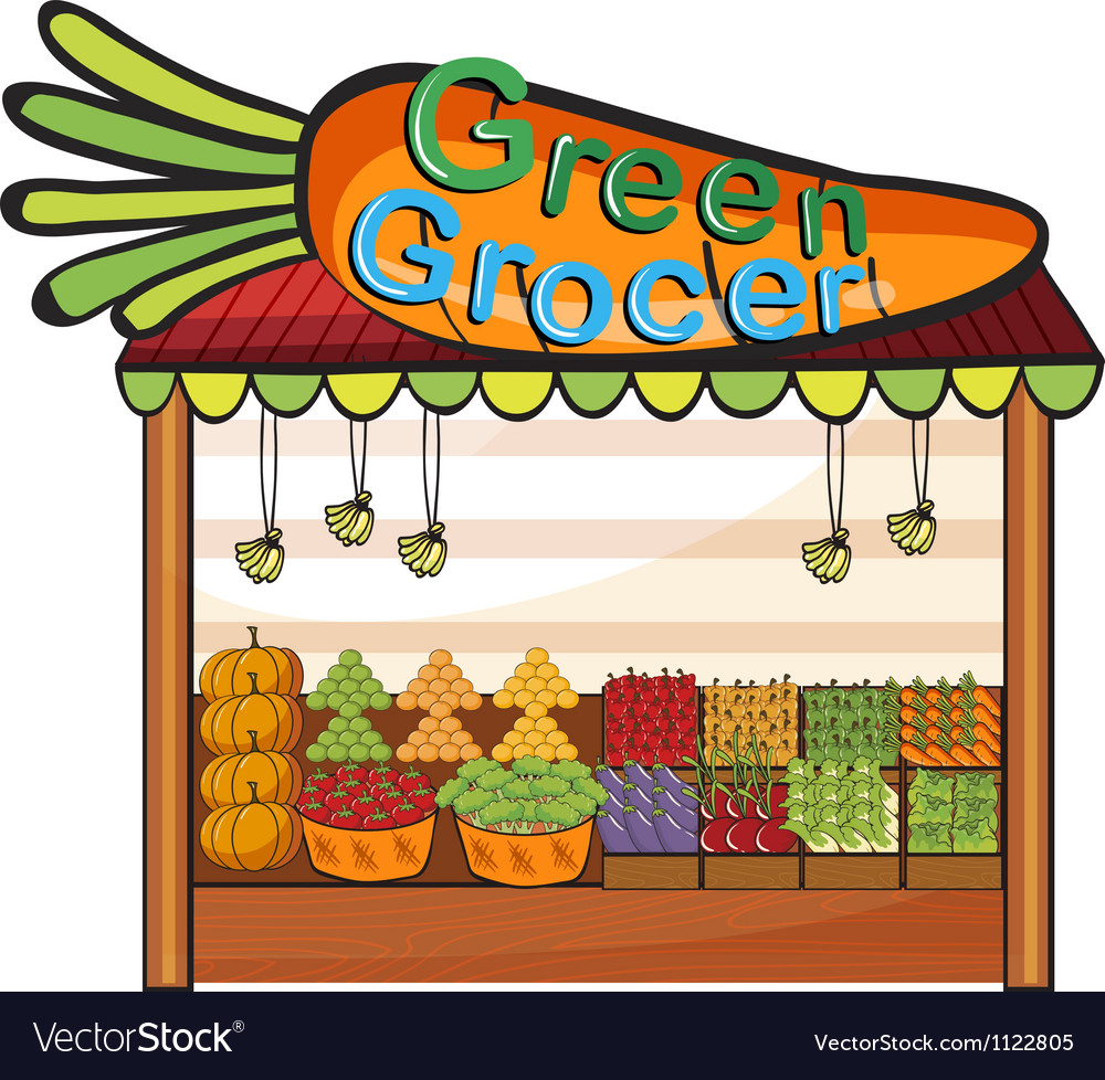 A green grocer shop vector | Price: 1 Credit (USD $1)