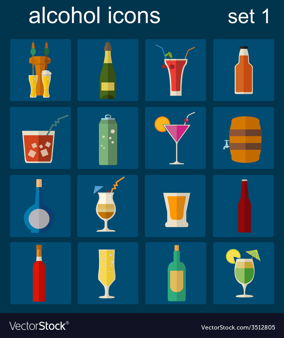 Alcohol drinks icons 16 flat icons set vector | Price: 1 Credit (USD $1)