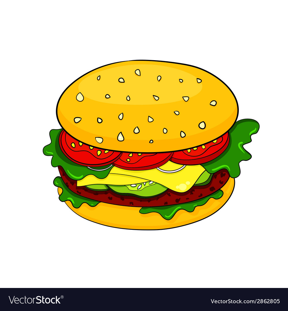 Cartoon hamburger icon vector